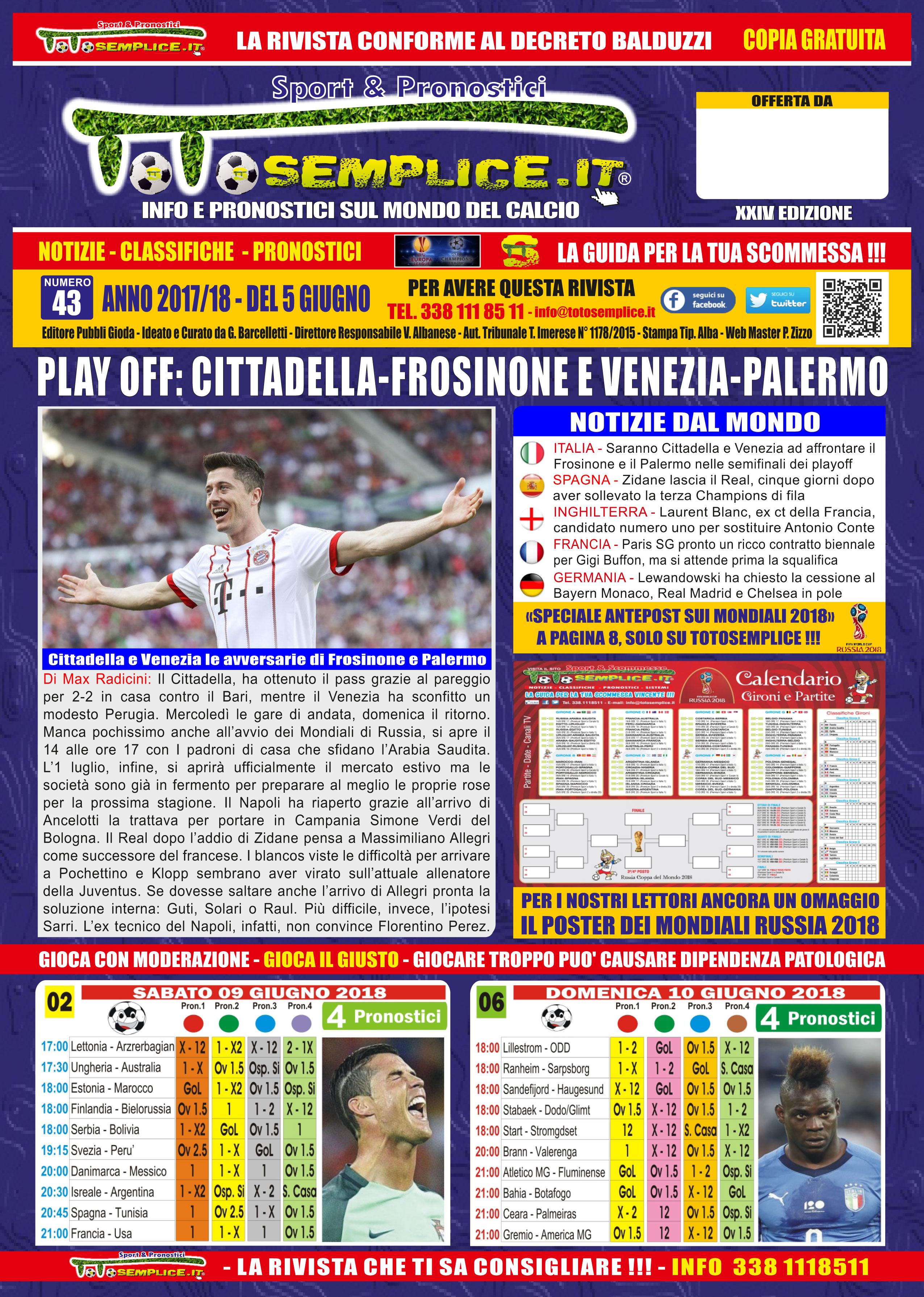 Totosemplice.it n.43 del 5 Giugno 2018